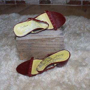Retro Free People Red Stud Strap Chunk Heels 👠